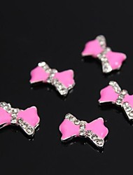 10pcs rosa Strass Fliege 3d-Legierung Zubehör für Fingerspitzen Nagelkunstdekoration