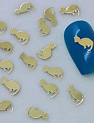 200PCS Golden Cat Design Metal Slice Nail Art Decoration