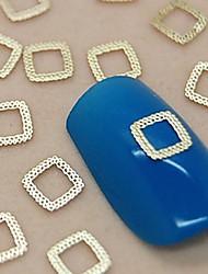 200pcs projeto do laço quadrado vazio metal dourado arte fatia decoração de unhas