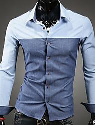 davi de color azul oscuro de empalme manera de la camisa de manga larga