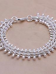 Vivid Women's Fish Bone Silver Plate Bracelet