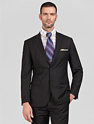 Suits Tailored Fit Notch Single Breasted Two-buttons Polyester 2 Pieces Black Straight Flapped None (Flat Front) None (Flat Front)