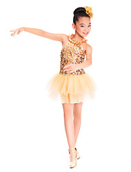 Kids' Dancewear Dresses Children's Training Spandex / Sequined / Tulle Ruffles / Sequins Gold Ballet / Ballroom / PerformanceSpring,
