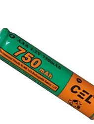 cel 1.2v 750mAh bateria de NiMH recarregáveis aaa
