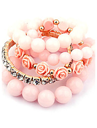 Bracelet Candy Color Multilayer Acrylic Beads Rose Strand Bracelet(Random Color)
