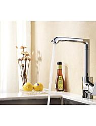 cromado contemporânea um único furo alça 360 graus plataforma de rotação de bronze montado torneira da cozinha