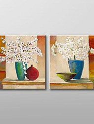Hand Painted  Modern Floral  Oil Painting with Stretched Frame Set of 2
