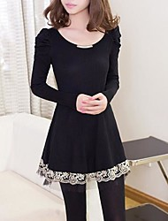 Women's In The Long Section Of Grounding Lap Lace Hubble Bubble Sleeve Sweater A Word Dress   Sweaters