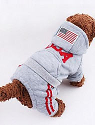 Dog Hoodie Gray / Rose Winter American/USA / National Flag