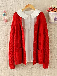 Women's Round Neck Long Sleeve Knit Cardigan Sweater