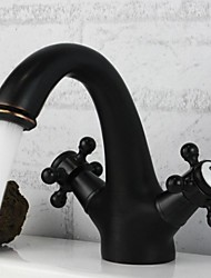 Traditional Widespread Two Handles One Hole in Oil-rubbed Bronze Bathroom Sink Faucet