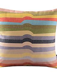 Rainbow Irregular Stripe Cotton/Linen Decorative Pillow Cover