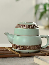 Chinese Embossed Porcelain Tea Set,1 pc Teapot,1 pc Tea Cup