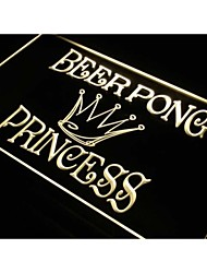 j566 Beer Pong Princess Game Bar Pub Neon Light Sign