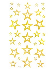 2Pcs Stars Hollow  Gold Glitter Tattoo Stickers Temporary Tattoos