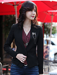 Jushang Korean Style Slim Elegant Long Sleeve Short Blazer(Blazer Only)_Black