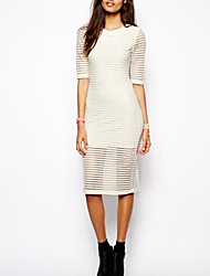 Women's Going out Sheath Dress,Solid Crew Neck Knee-length ½ Length Sleeve White / Black Summer