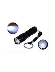 HJX-520 3W Police 1-Mode Aluminum Alloy AA Batteries Portable LED Flashlight (50LM, 1xAA, Black)