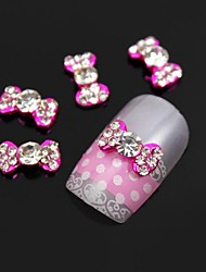 10pcs   Clear Rhinestone Pink Bow Tie Alloy Nail Art Decoration
