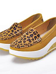 Casual ( Pele , Azul / Laranja / Amarelo / Fúcsia ) Sapatos de Senhora - Plataforma - 3-6cm