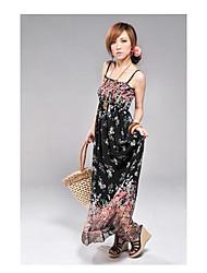 h&Blumendruck ärmelloses langes Kleid süß z Frauen
