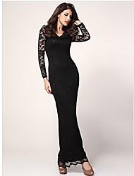 Мол женщин кружева сплошной цвет Bodycon платье
