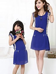 Family's Fashion Leisure Mother Daughter Sleeveless Chiffon Dress