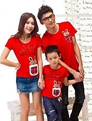 Family's Fashion Joker Leisure Parent Child Cute Little Rabbit Short Sleeve T Shirt