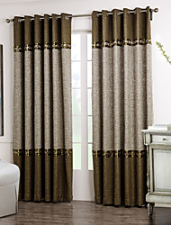 (Two Panels) Neoclassical Brown And Grey Solid Floral Lace Room Darkening Curtain
