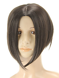 Capless Medium Straight Black Wigs Side Bang