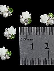 10pcs weiß 3D Rose Blume Perle Strass DIY Zubehör Nagelkunstdekoration