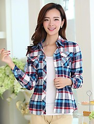 Women's Shirt Collar Casual Check Cotton Long Sleeve Shirt