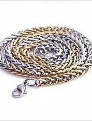 мужская мода всего матча золото и серебро титана стали ожерелья цепи