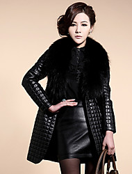 Elegant Leather Long Coat
