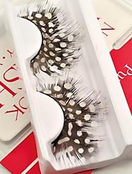 1 Pair White Spots 100% Handmade Feather with Plastic Black Terrier False Eyelashes