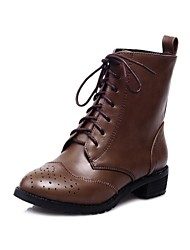 Women's Shoes Round Toe Low Heel Ankle Boots with Lace-up More colors available