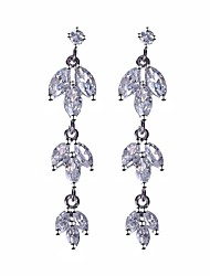 S&V Brass With Cubic Zirconia Drop Earrings
