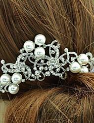 aleación y diamantes de imitación con el peine del pelo de perlas de imitación de las mujeres