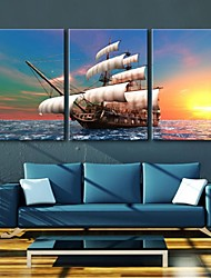 Stretched Canvas Art The Yacht Sailing In The Twilight Decoration  Set of 3