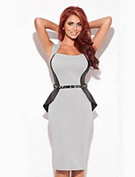 BB&C Women'S Sleeveless Stitching Ol Style Pencil Dress(Silver)