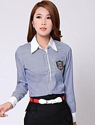 Mulheres Camisa Formal Simples Primavera / Outono / Inverno,Listrado Azul / Rosa Algodão Colarinho de Camisa Manga Longa Média