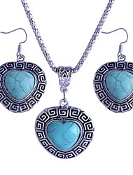 Lureme®Turkey Blue Tophus  Silver Easel Peach Heart Pendant Necklace and Earring Suit