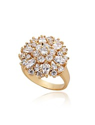 Women's Elegant Big Flower 18K Gold Plated  Zircon Rings