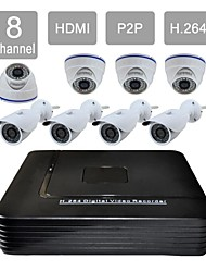 8 Channel HDMI 1TB HDD CCTV DVR 8 Outdoor / Indoor Vision Security Camera System Kit F276+808CA08VG