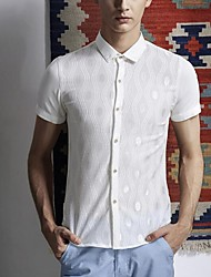 Men's Square-Cut Collar Casual Fashion Cut Out Korean Style Short Sleeves Shirt