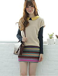 Women's Casual/Daily Cute Sheath Dress,Patchwork Peter Pan Collar Above Knee Long Sleeve Multi-color Polyester Fall