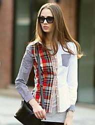 Veri Gude® Women's Turn-Down Collar  Patchwork Plaid Shirt
