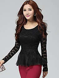 Women's Lace Black/Pink Blouse , Round Neck Long Sleeve Lace/Mesh/Ruffle