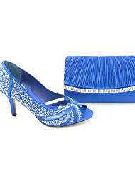 Pompes / Talons ( Bleu/Blanc Bout ouvert/Chaussures avec les sacs assortis - Talon aiguille - Satin - pour FEMMES