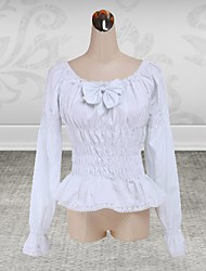 Blouse/Shirt Sweet Lolita Lolita Cosplay Lolita Dress Solid Long Sleeve Lolita Blouse For Cotton